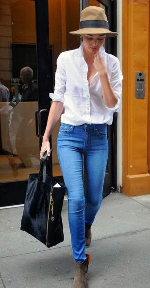 White Long Sleeve Shirt With Blue Jeans
