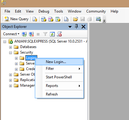 New sql login in ms sql server
