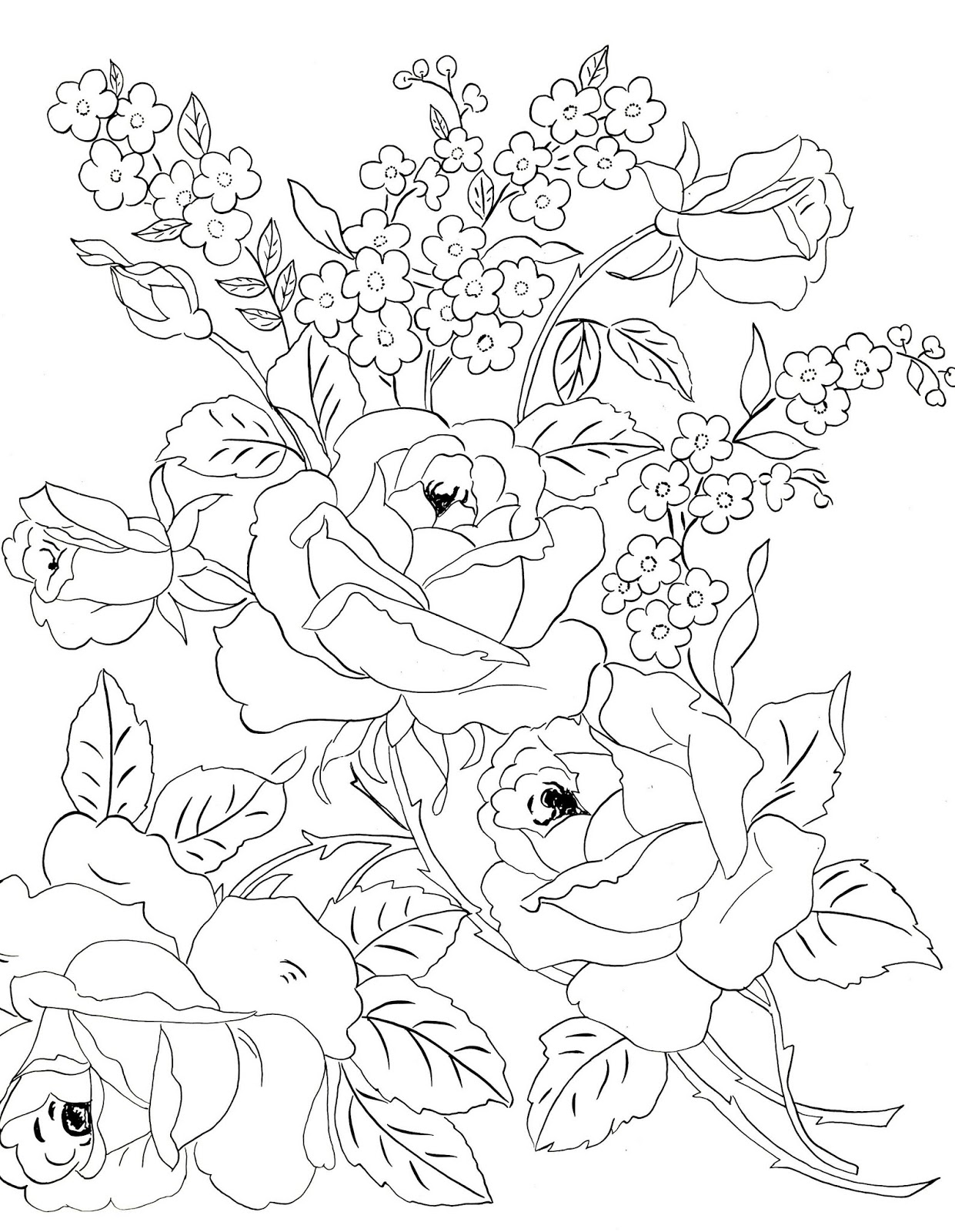 Line Drawing Embroidery : Digital two for tuesday tulips and roses