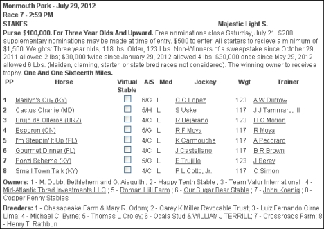 majestic light stakes contenders brujo de olleros