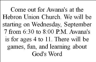 9-7 Awana's At Hebron Union Church