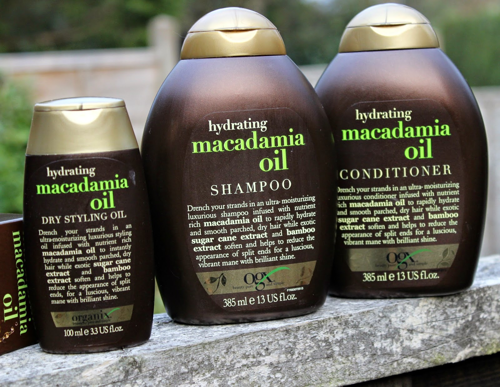 A picure of the OGX Hydrating Macadamia Oil Shampoo, Conditioner and Dry Styling Oil