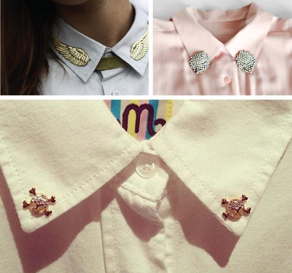 ponta da gola da camisa decorada com brincos