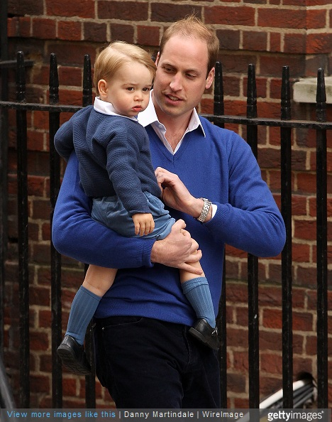 Prince William, Duke of Cambridge and Prince George arrive at the Lindo Wing after it was announced that the Duchess of Cambridge has given birth to a baby girl at St Mary's Hospital