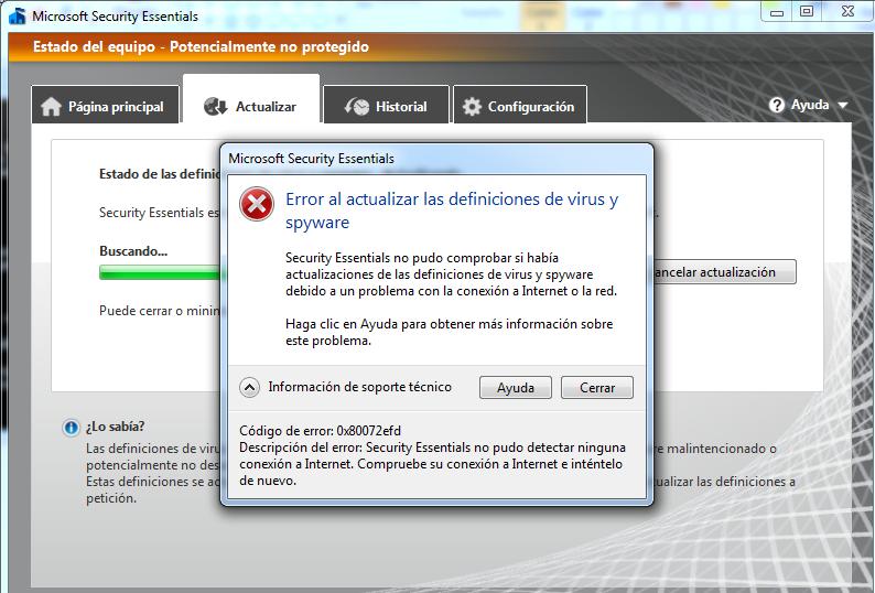 Actualizacion Microsoft Security Essentials