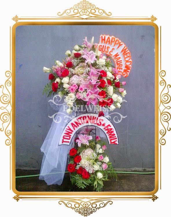 bunga standing ucapan pernikahan