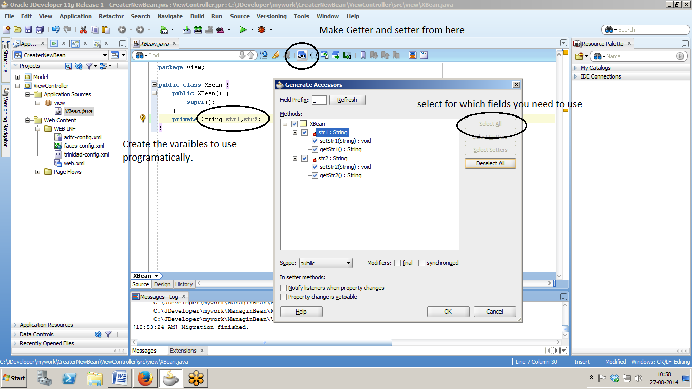 Adf with java create a managed bean in adf open adfc configxml with managed bean tab under overview section baditri Gallery