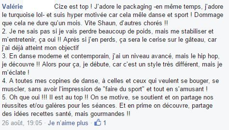 avis de Valérie sur CIZE programme d'entraînement sur dvd de Shaun T
