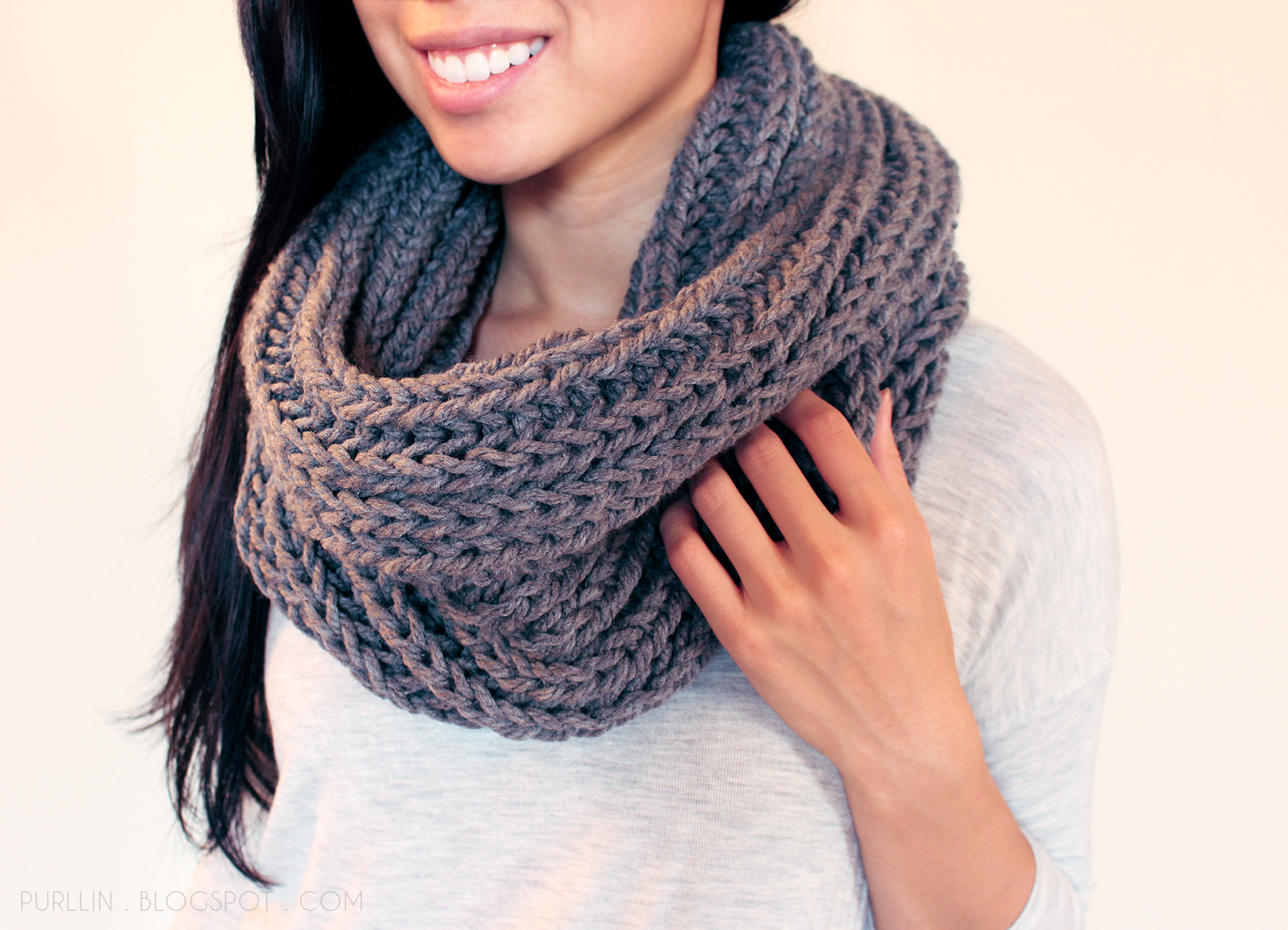 Free Patterns For Knitted Scarves : Purllin: Textured November Infinity Scarf Free Pattern