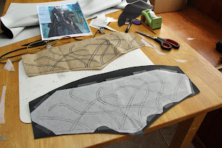 Making the swirl design on the vest of the Elrond costume.