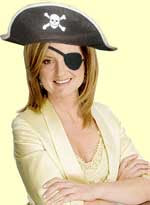 Arianna Huffington decked out like a pirate with eyepatch and hat
