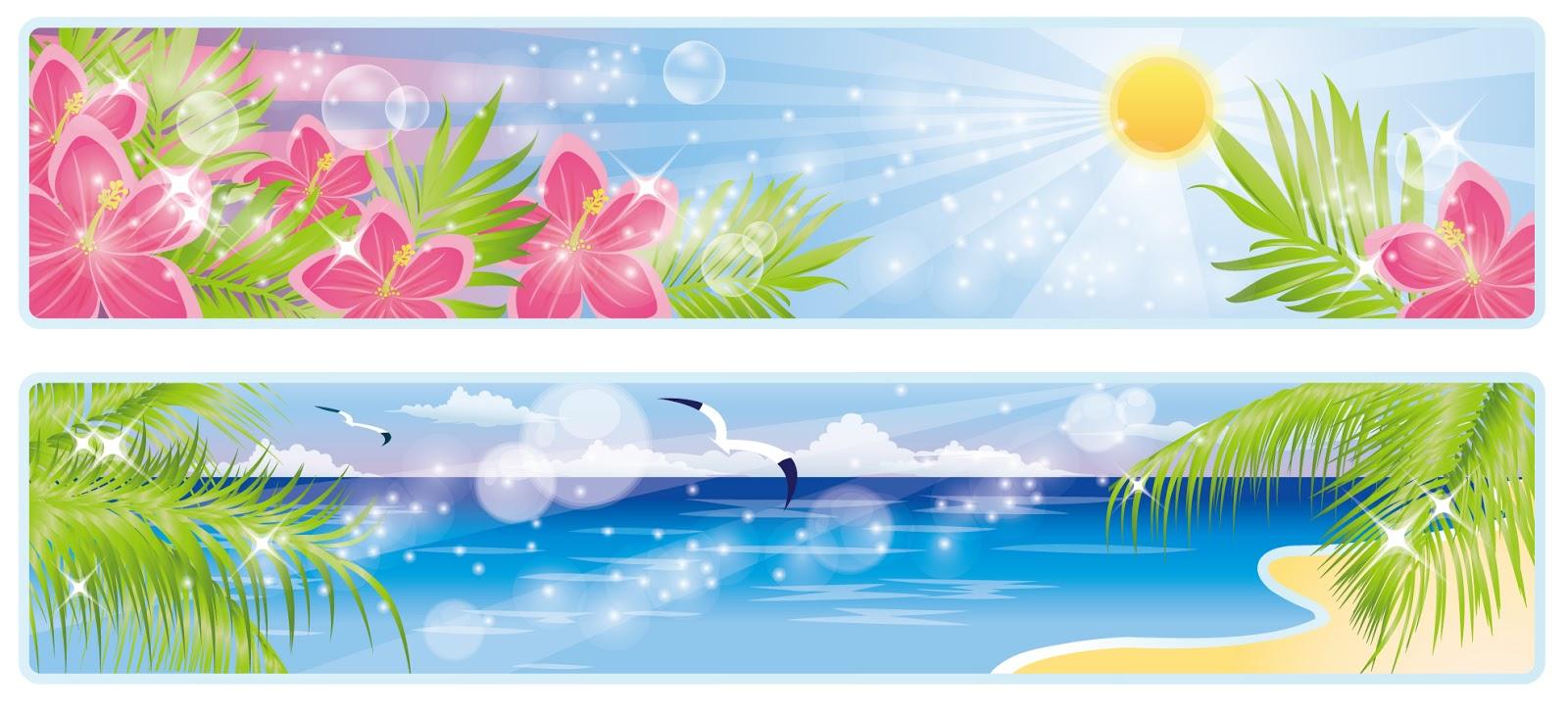 明るい陽射しの浜辺のバナー sea level ocean sun seagulls イラスト素材