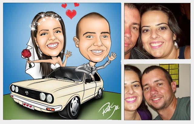 caricatura de noivinhos com carro