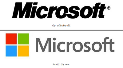 Microsoft Old and New Logo Designs