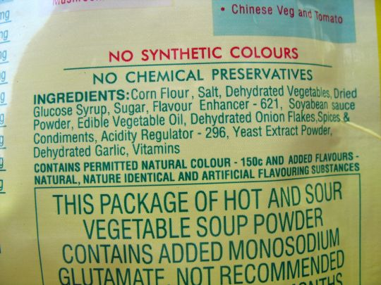 Ingredients of vegetable soup