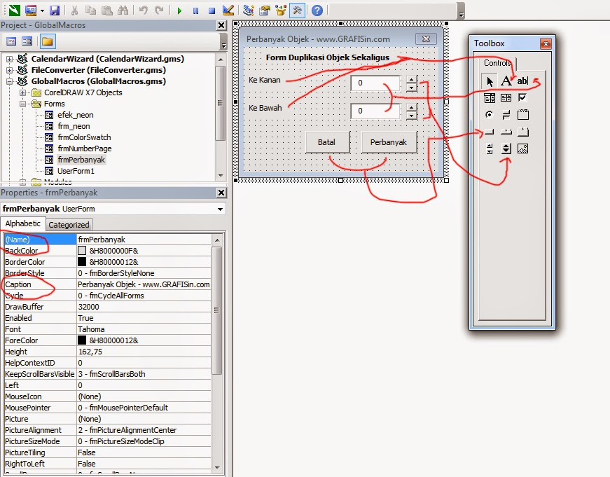 Pengaturan Komponen dan properties pada VBA CorelDraw