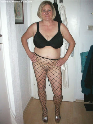 wife posing in fishnet pantyhose
