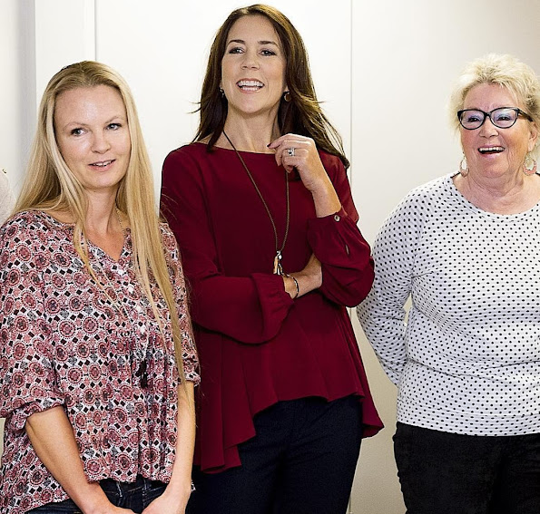 "Crown Princess Mary of Denmark visited Slagelse Red Cross Center. Crown Princess made this visit in order to monitor the works of the network project ""War against loneliness"" (Vaerket) that has been jointly developed by ""Mary Foundation"""
