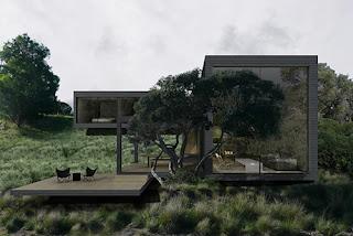 Casa minimalista fachada negra