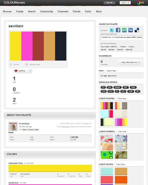 Цвета выбрать заранее на colorlovers com там