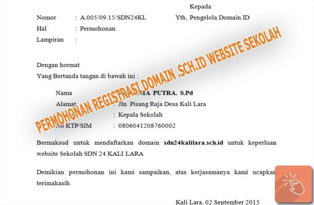 Contoh Surat Permohonan Kepala Sekolah untuk Registrasi Domain .SCH.ID