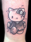 . nombre indica, se trata de los tatuajes en blanco y negro, . tattoo hello kitty zombie black and gray