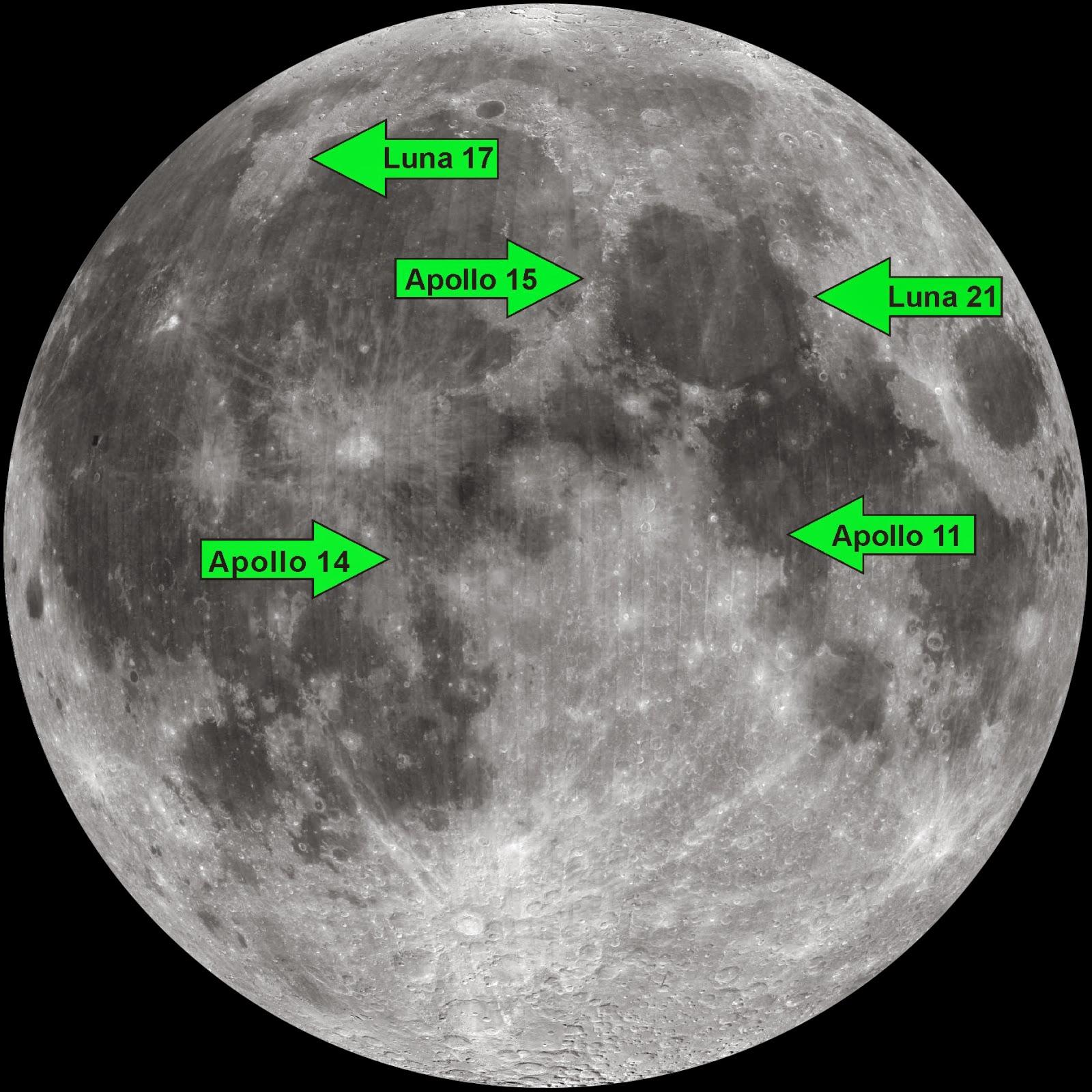 Localización de los retro-reflectores en la Luna.