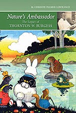 Thronton Burgess cartoon of white bunny rabbit, green frog, squirl, and beaver