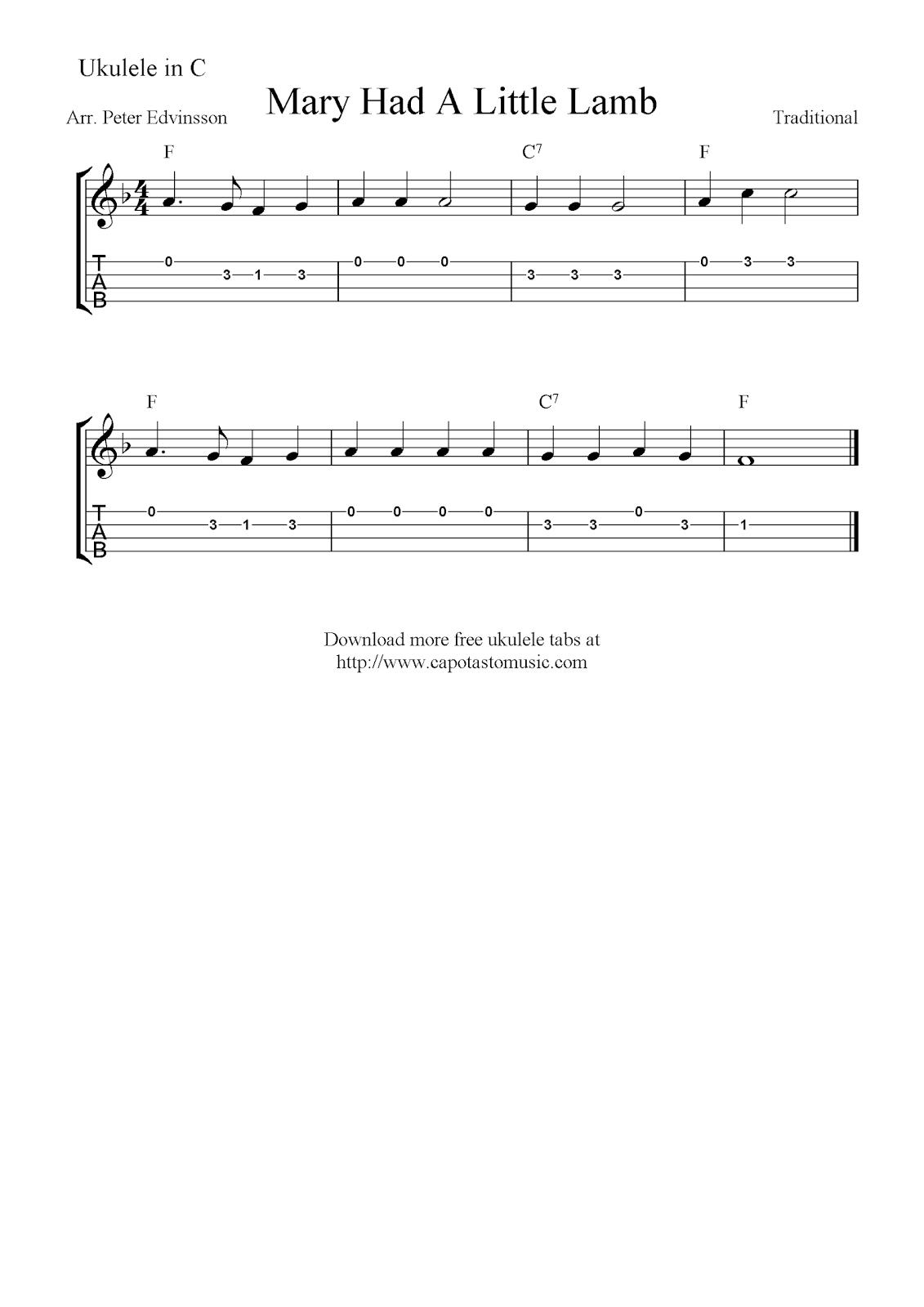 Mary Had A Little Lamb, free ukulele tablature sheet music notes