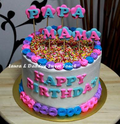 LAURA AND DADDYS MACARONS: Birthday Cake for Papa & Mama
