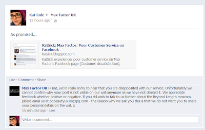 Max Factor facebook feedback complaint