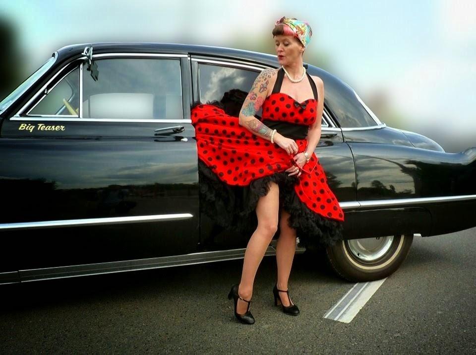 Red polka dot swingdress