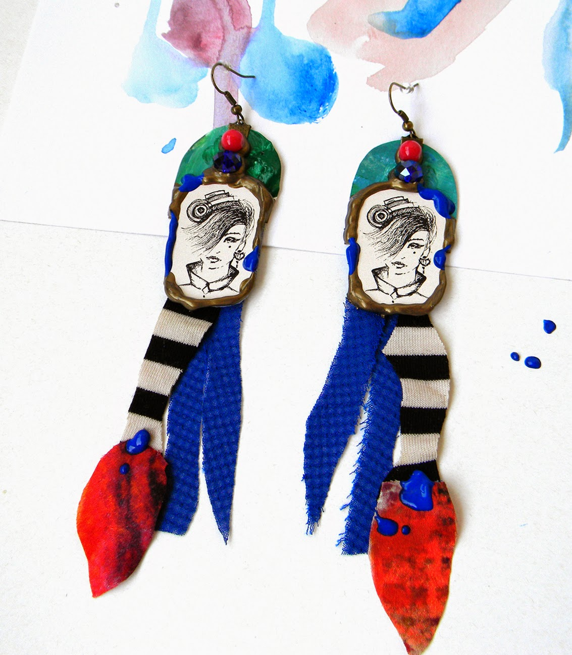 Textile Long Statement Earrings Retro Modern Chic inspired