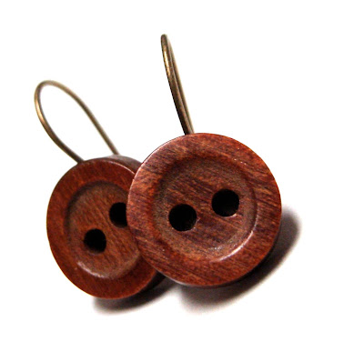 Maple wood earring dangles made with vintage buttons