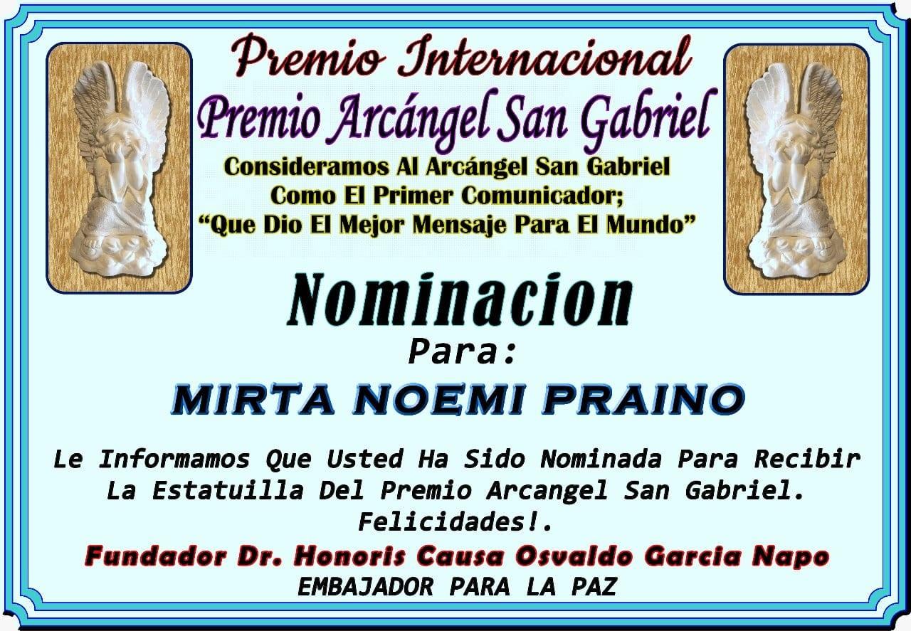 Premio Internacional Arcangel San Gabriel Entrega 14 Diciembre 2019