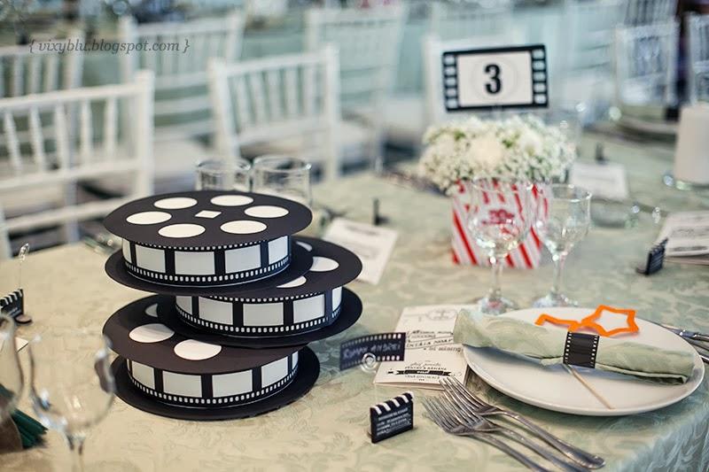 role film tema cinema nunta, numere masa nunta, tema cinema nunta, numere masa handmade, suport flori cinema