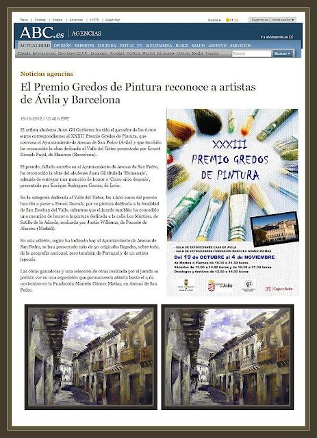 ARENAS DE SAN PEDRO-AVILA-PREMIOS-CONCURSOS-PINTURA-ABC-GREDOS-NOTICIAS-PINTOR-ERNEST DESCALS