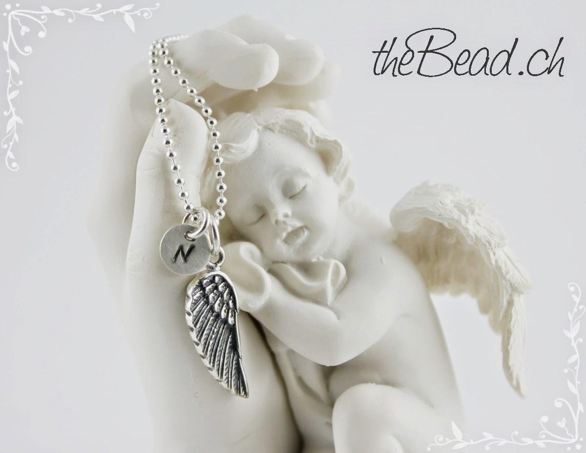 Engels Flügel Halskette mit Monogramm Anhänger aus 925 Silber
