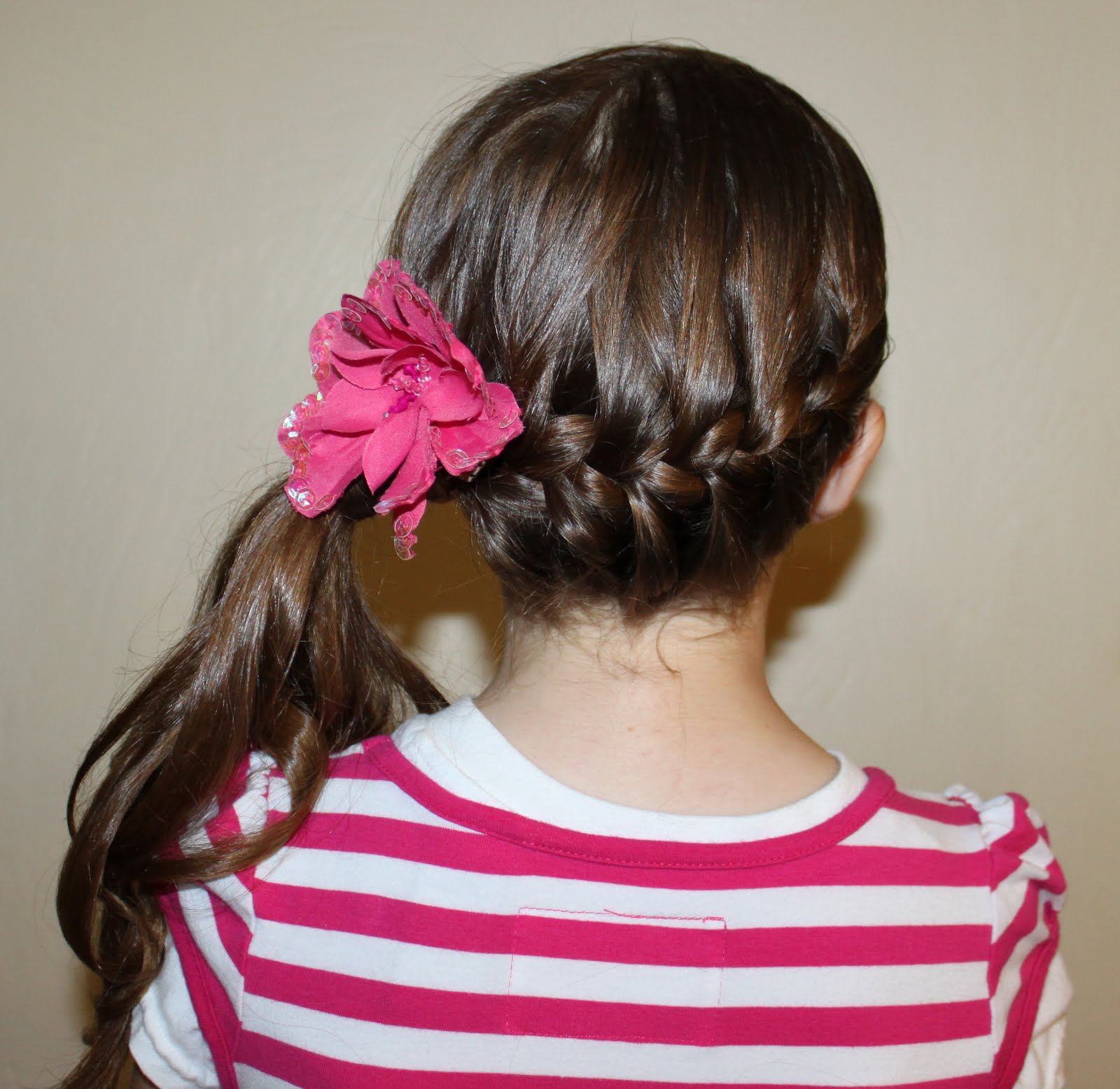 Side French Braid into Ponytail