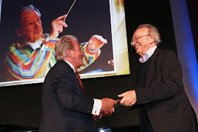 Sir Neville Marriner being presented with his Outstanding Achievement Award at the Gramophone Awards by Alfred Brendel
