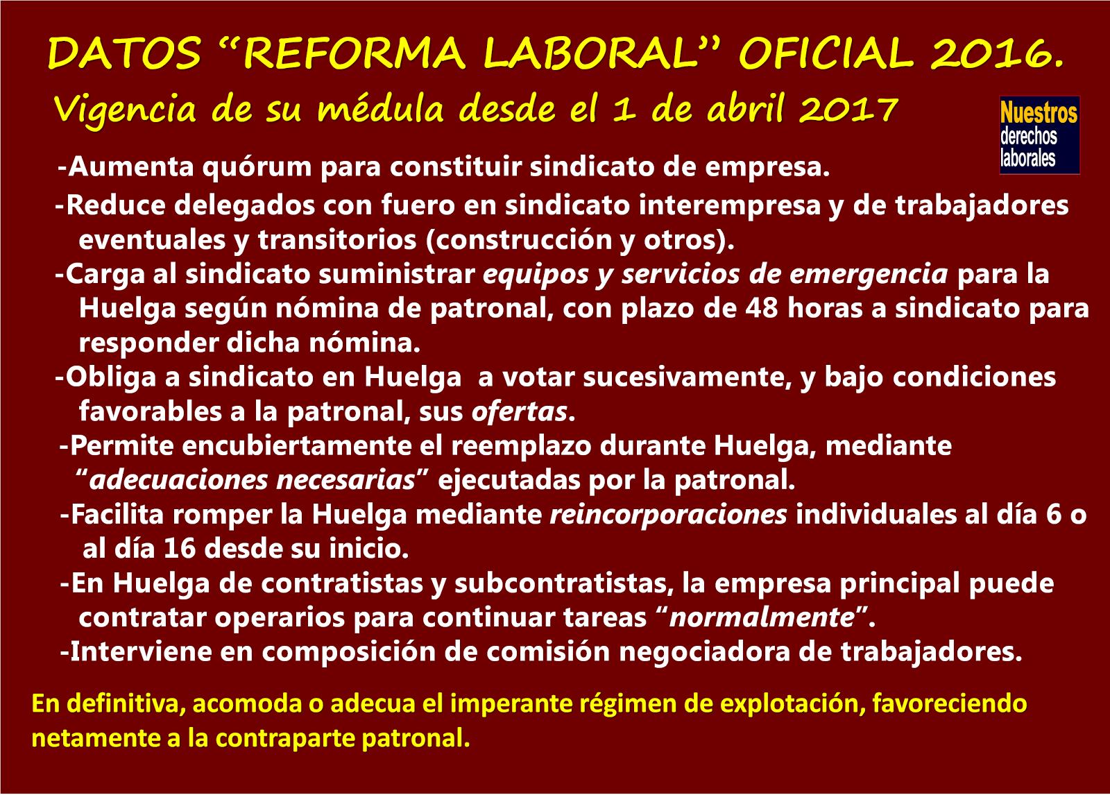 Reforma laboral oficialista. Lo que el Gobierno y su cúpula CUT no dicen.