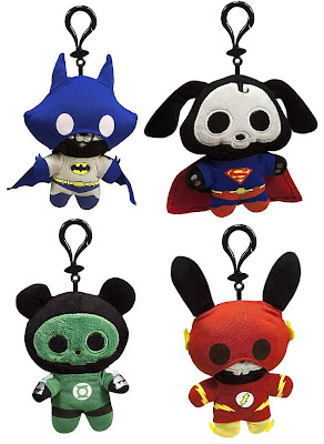 DC Heroes Skelanimals Clip-On Plush Figures by Toynami - Jae the Fox as Batman, Dax the Dog as Superman, ChungKee the Panda as Green Lantern &amp; Jack the Rabbit as Flash