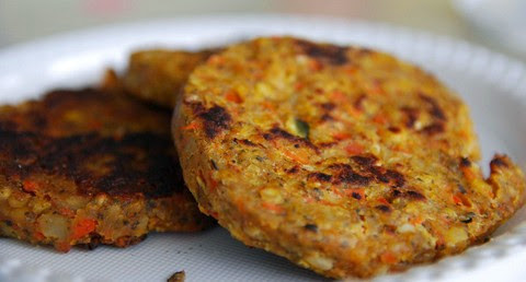 Vegetable Burger Patties with Carrot and Lentil