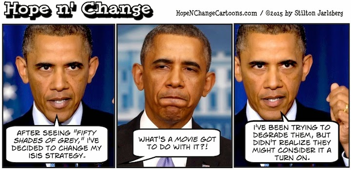obama, obama jokes, political, humor, cartoon, conservative, hope n' change, hope and change, stilton jarlsberg, isis, terror, fifty shades of grey, abu ghraib