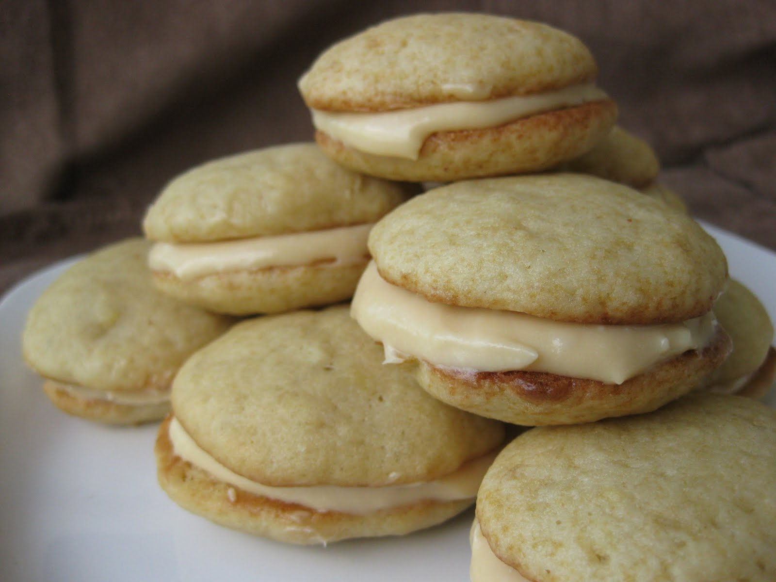 Banana Whoopie Pies with Caramel Cream Cheese Filling | Once Upon a ...