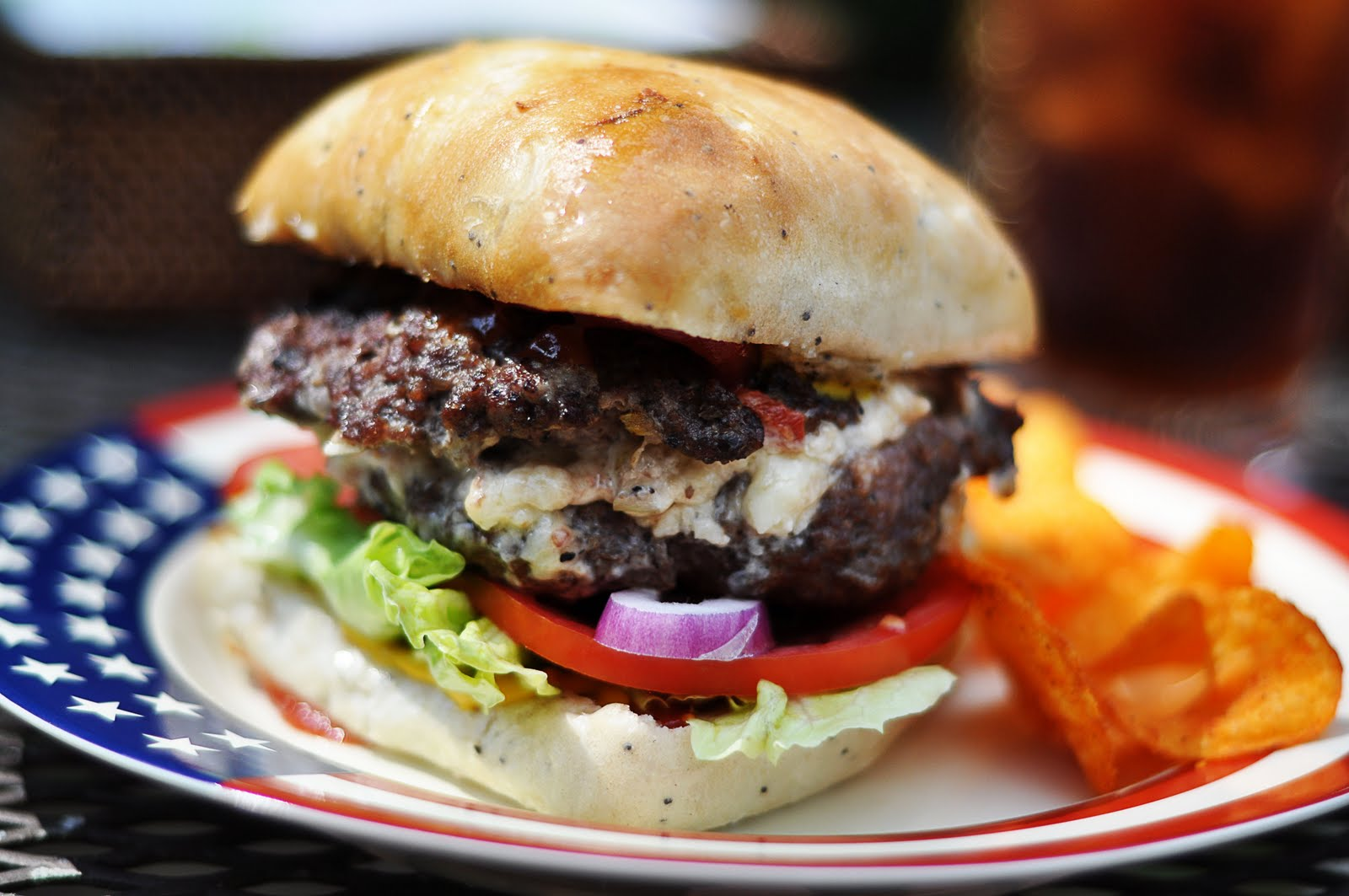White Cheddar-Bacon-Pimiento Cheese Stuffed Burgers