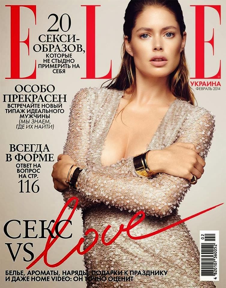 Doutzen Kroes Photos from Elle Ukraine Magazine Cover February 2014 HQ Scans