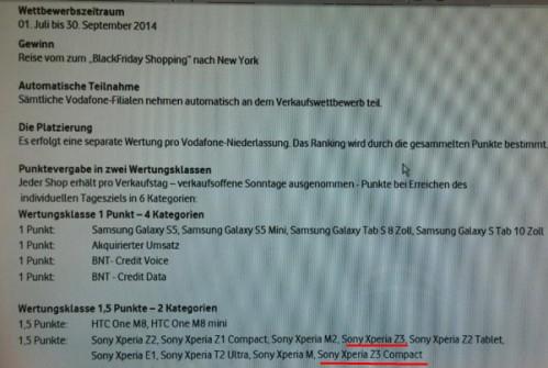 Secondo un documento interno Vodafone i nuovi top di gamma di Sony Xperia Z3 e Z3 Compact usciranno a settembre