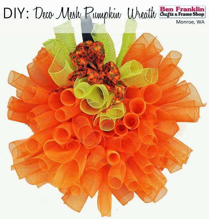 DIY Deco Mesh Pumpkin Wreath - Halloween Craft