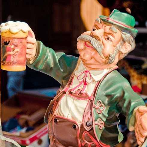 German Man with Lederhosen and Beer Stein